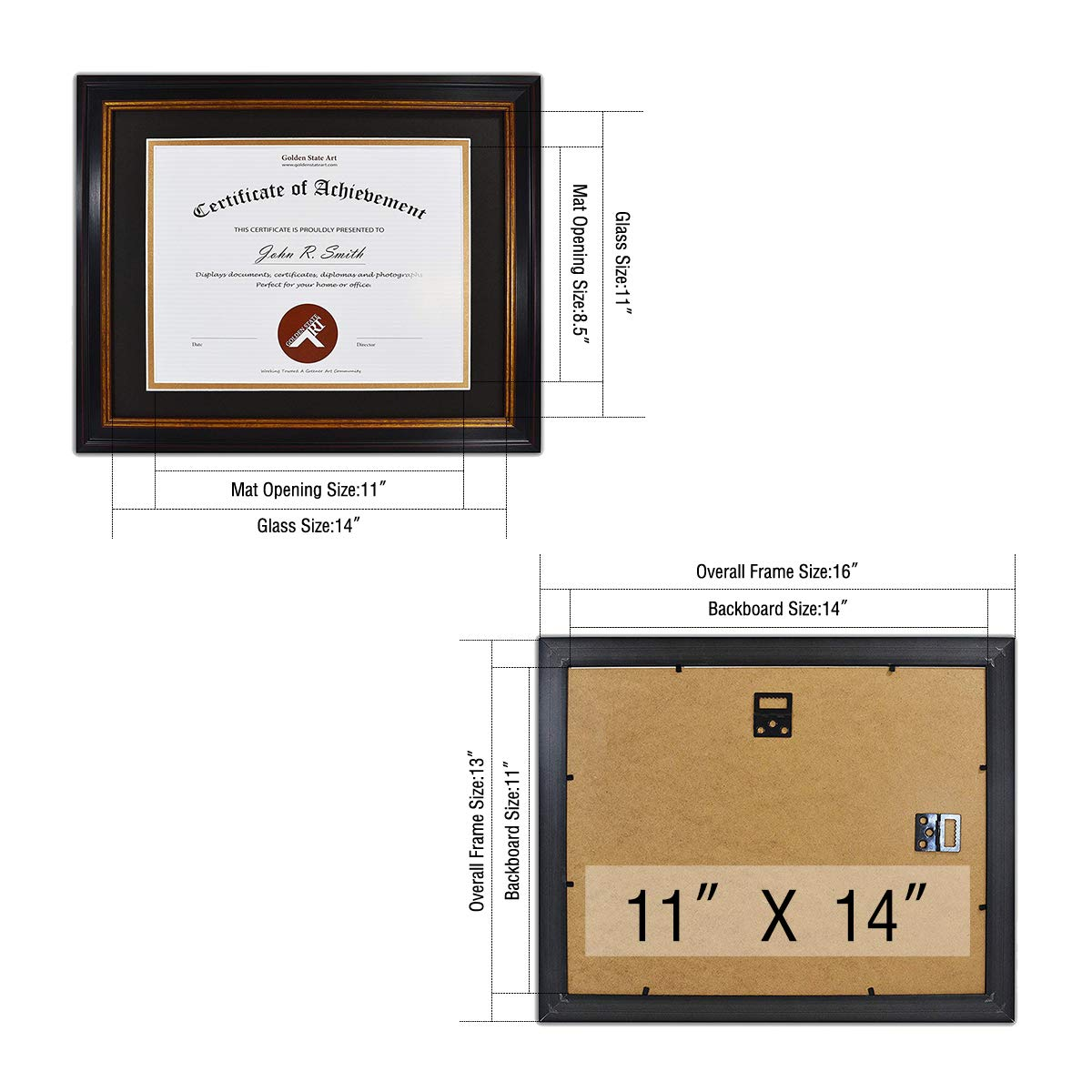 Golden State Art, 11x14 Frame for 8.5x11 Diploma//Certificate ...