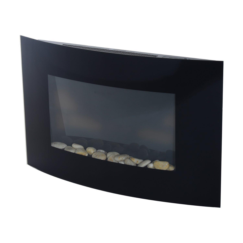 HOMCOM –  Chimenea elé ctrica Hecha de Acero Inoxidable con Cristal Templado 65 x 11.4 x 52 cm Negro