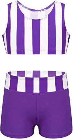 QinCiao Girls Two Piece Striped Tankini Swimsuit Athletic Sports Vest Crop Top with Shorts Gymnastic Dancing Outfit