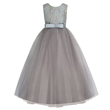 Discoball Ball Gown Girls Lace Bridesmaid Princess Dress Wedding Party Prom Birthday Dress for Kids(