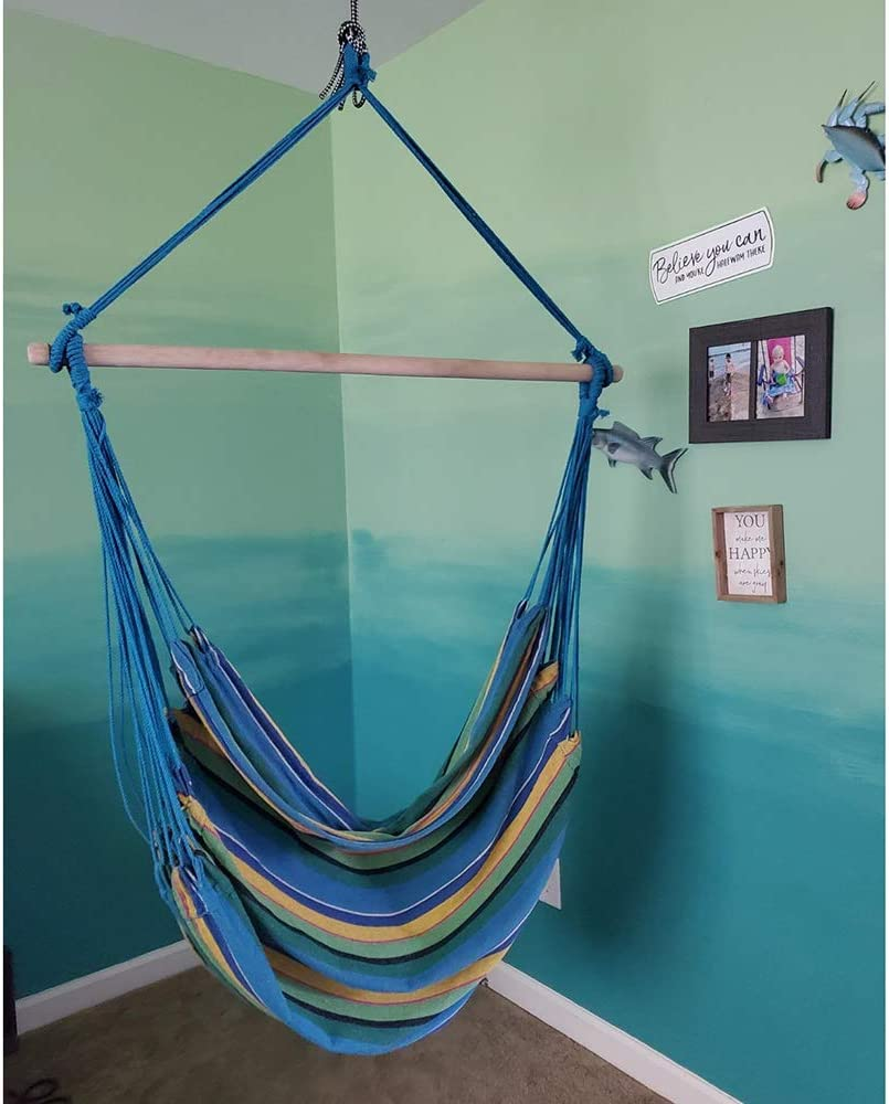 Chihee Hammock Chair Large Hammock Chair Relax Hanging Swing Chair Cotton Weave for Superior Comfort /& Durability Perfect for Indoor//Outdoor Home Bedroom Patio Deck Yard Garden