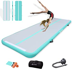 AKSPORT Gymnatsics Air Mat Tumble Track Inflatable Tumbling Mat with Electric Air Pump for Home Use/Tumble/Gym/Training/Cheerleading