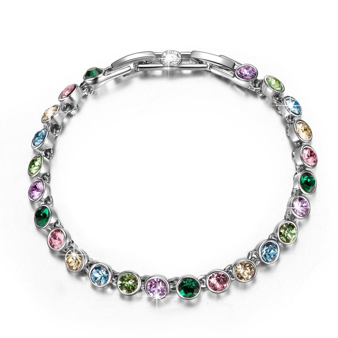 QIANSE Fairy Lights Multicoloured Swarovski Crystals Tennis Bracelet Tennis Bracelets for Women Bracelets for Girls Jewelry for Women Birthday Gifts for Daughter Granddaughter