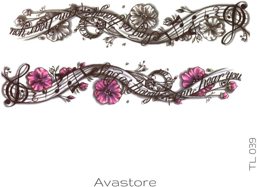 Tatuaje Temporal de notas musicales avastore: Amazon.es: Belleza