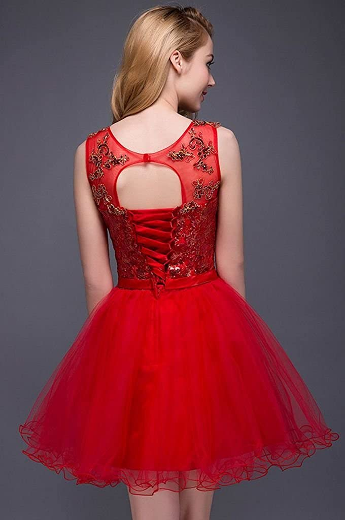 Snowskite High Neck Above Knee Sequins Tulle Cocktail Homecoming Dress