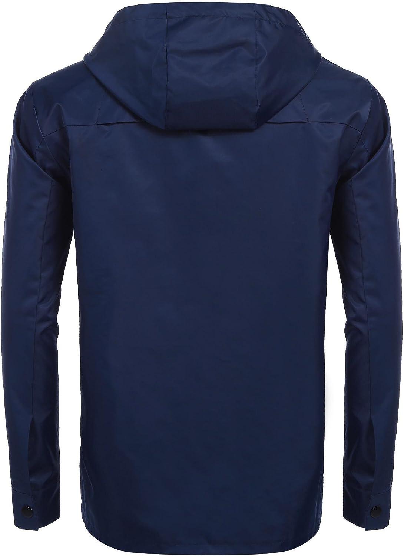 Etuoji Mens Waterproof Jacket Lightweight Raincoat Hooded Windproof Coat