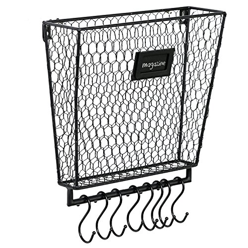 Black Metal Chicken Wire Wall Mounted Magazine & Document Basket with 8 S-Hooks & Chalkboard Label