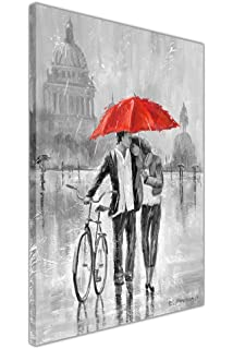 Red Dress Under Umbrella Black And White Framed Canvas Pictures Wall