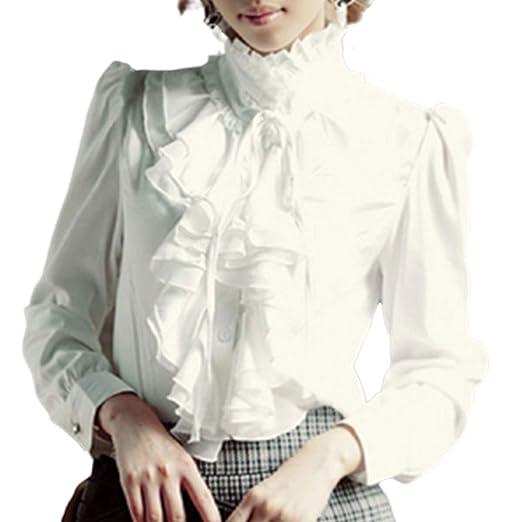 Pt Key Women S Ruffle Blouse Long Sleeve Gothic Deco Bow Tie High