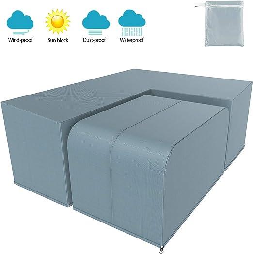 Yous Auto Juego de Forma de L de Funda Protectora para El SofÁ De La Esquina Muebles para Mesa De Jardin Exterior Impermeable Anti-UV (Gris 270 * 270x90cm+155x95x68cm): Amazon.es: Jardín