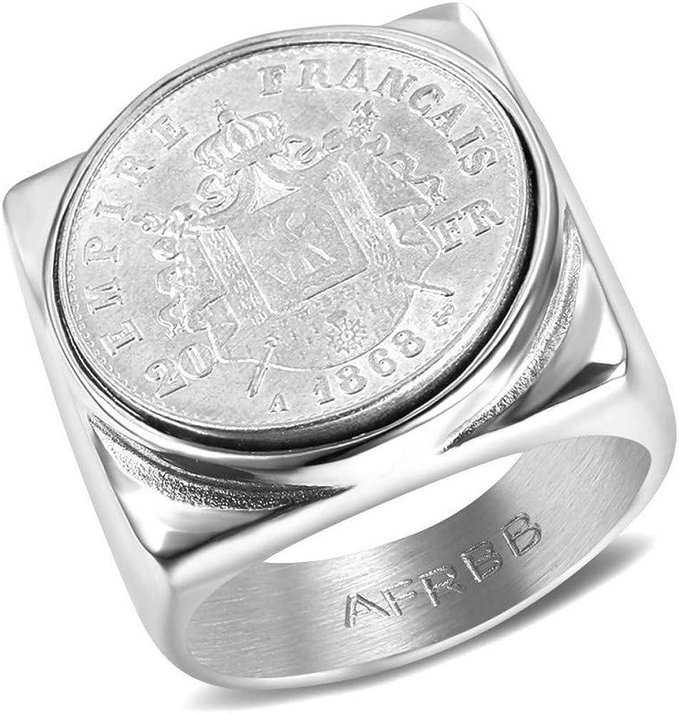 BOBIJOO Jewelry Chevali/ère Bague Napoleon III Pi/èce Empire Fran/çais 20 FRS Acier 316L Pleine Carr/ée Louis