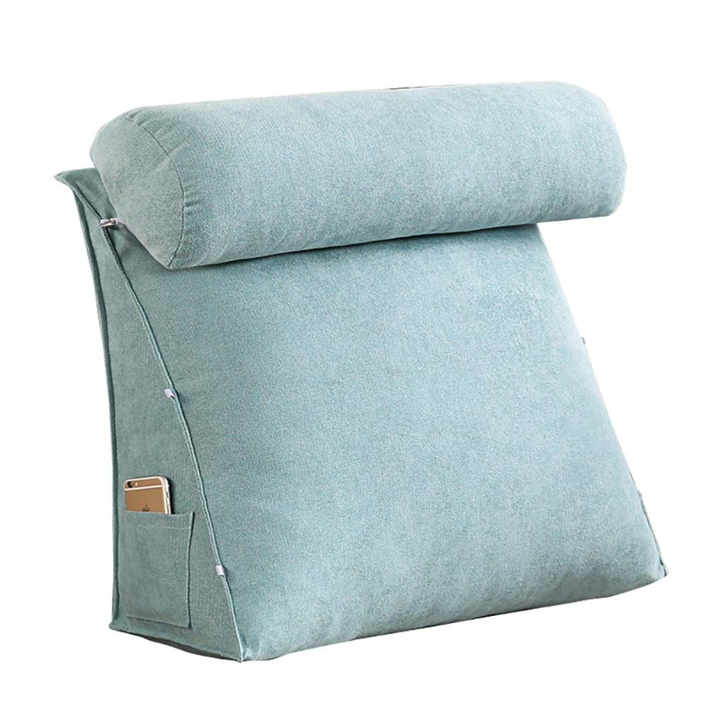 blueee 454520cm LXLIGHTS Headboard Bedside Cushion Backrest Waist Pad Neck Pillow Bed Wedge Multifunction Bay Window, Washable (color   Brown, Size   60  50  20cm)