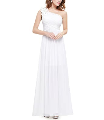 Ever Pretty One Shoulder Floral Padded Holiday Celebrity Prom Summer Long Evening Dresses,White,