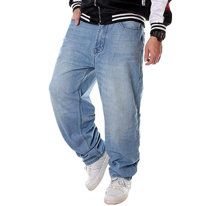 Yujeet Pantalones Vaqueros Holgados de Hip Hop para Hombres ...