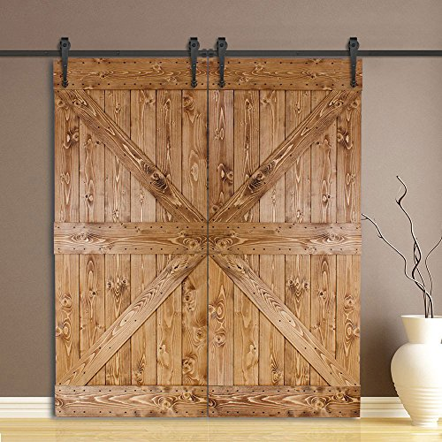 WINSOON 8FT Double Indoor Classic Decorative Bracket Sliding Roller Door  Hardware Black Wheel Hanging Set By