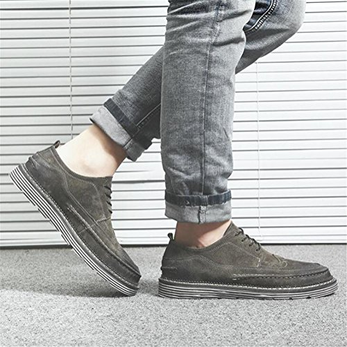 Hommes Chaussures Rétro Gommage en cuir Rogue Formateurs Semelle souple lacets Taille 38 à 43 gray 7RPIzZU