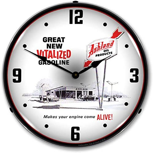 Collectable Sign and Clock 1612686 14″ Ashland Oil Lighted Clock