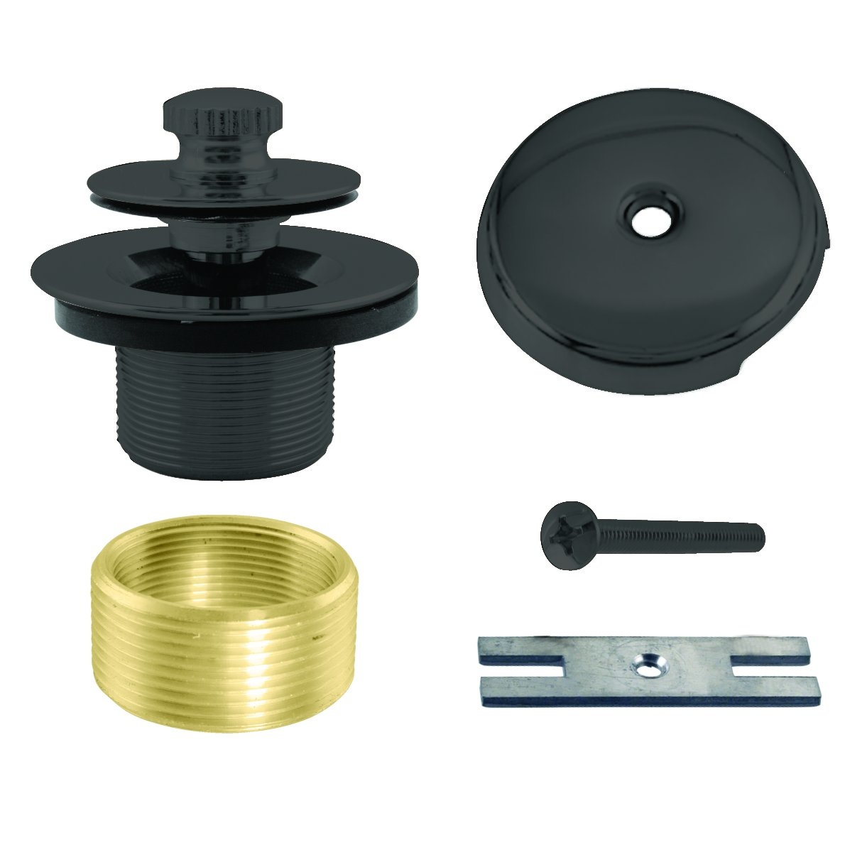 Westbrass Twist & Close Universal Tub Trim with One-Hole Faceplate, Matte Black, D941K-62