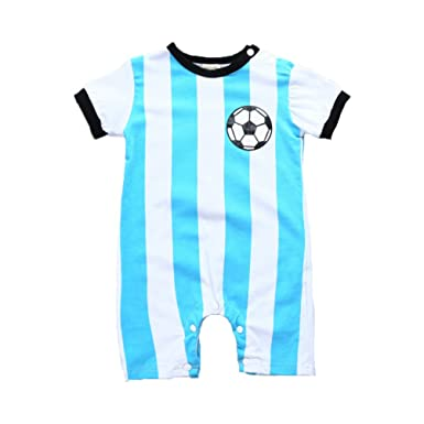 45674ff46 Fairy Baby Infants Cotton Argentina Messi #10 Outfit(Sky Blue Stripe, 3-