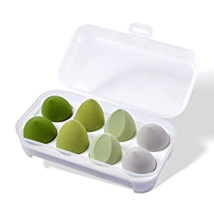 Kingbridal 8 Pcs Makeup Sponges Set Blender Beauty Foundation Blending Sponge, Flawless for Liquid, Cream and Powder, Multi-colored Cosmetic Applicator Puff for Dry/Wet Use (Green)