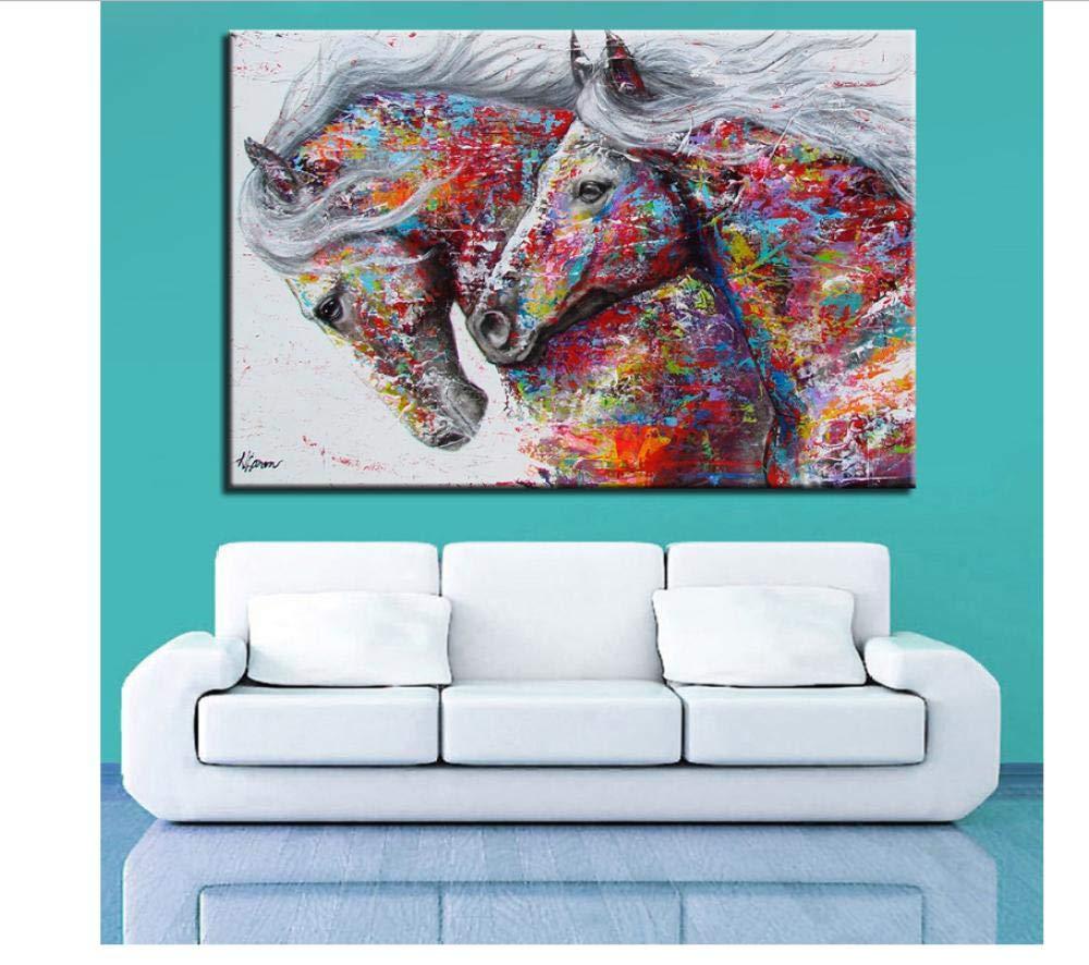zhaoyangeng Quadro su Tela Complementi Arredo Casa 1 Pezzo Entrambi I Cavalli da Corsa Dipinti Quadri Astratti di Animali per Soggiorno Parete Art-50X70Cm Senza Cornice