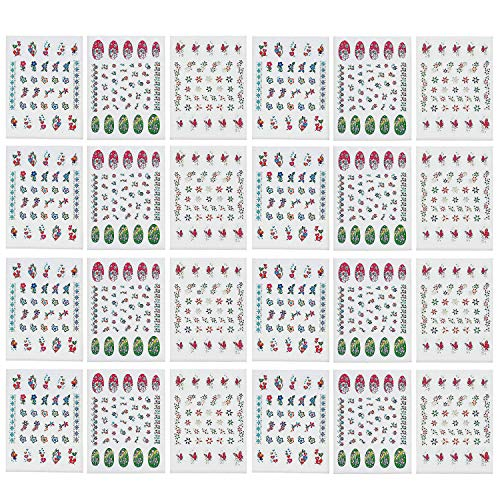 Kicko Nail Decals - 24 Sheets, 30 Decals Per Sheet - Nail Art Stickers Assortment of Colors and Designs - Great Party Favors, Summer, Gift, Prize (Fingernail Tattoos)