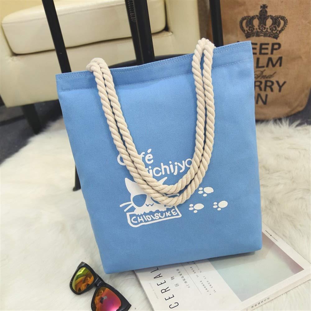 WHXYAA Cat Printed Canvas Bag Shoulder Bag Tote Bag Ladies Large-Capacity Shopping Bag Blue Simple Atmosphere