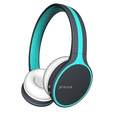 Procus Urban Bluetooth Headphones (On-Ear Wireless) Hi Bass, with Microphone (Mobile/PC/TV) Blue On-Ear Headphones at amazon