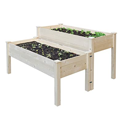 """COZUHAUSE Solid Wood Raised Garden Bed Set for Vegetable/Flower/Fruit 48"""" L×22"""" W×30"""" H Box Nature Wood (Raised Garden Bed): Garden & Outdoor"""