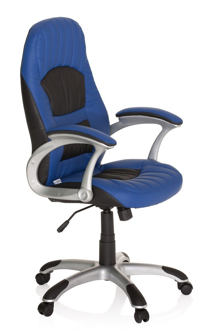 hjh OFFICE 621301 silla gaming RACER 200 piel sintética azul / negro, racing, deportivo, apoyabrazos acolchados, mecanismo de inclinación, cómoda, buen ...