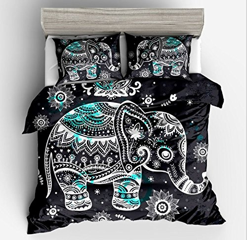 Elephant Duvet Cover Sets- Lotus Karen 3D009 (2017New Design ) Bohemian Elephant Ring Bedding Set Including 1Duvet cover 2Pillowcase Bohemian Exotic Pattern Design? (Size Blanket Full Anime)