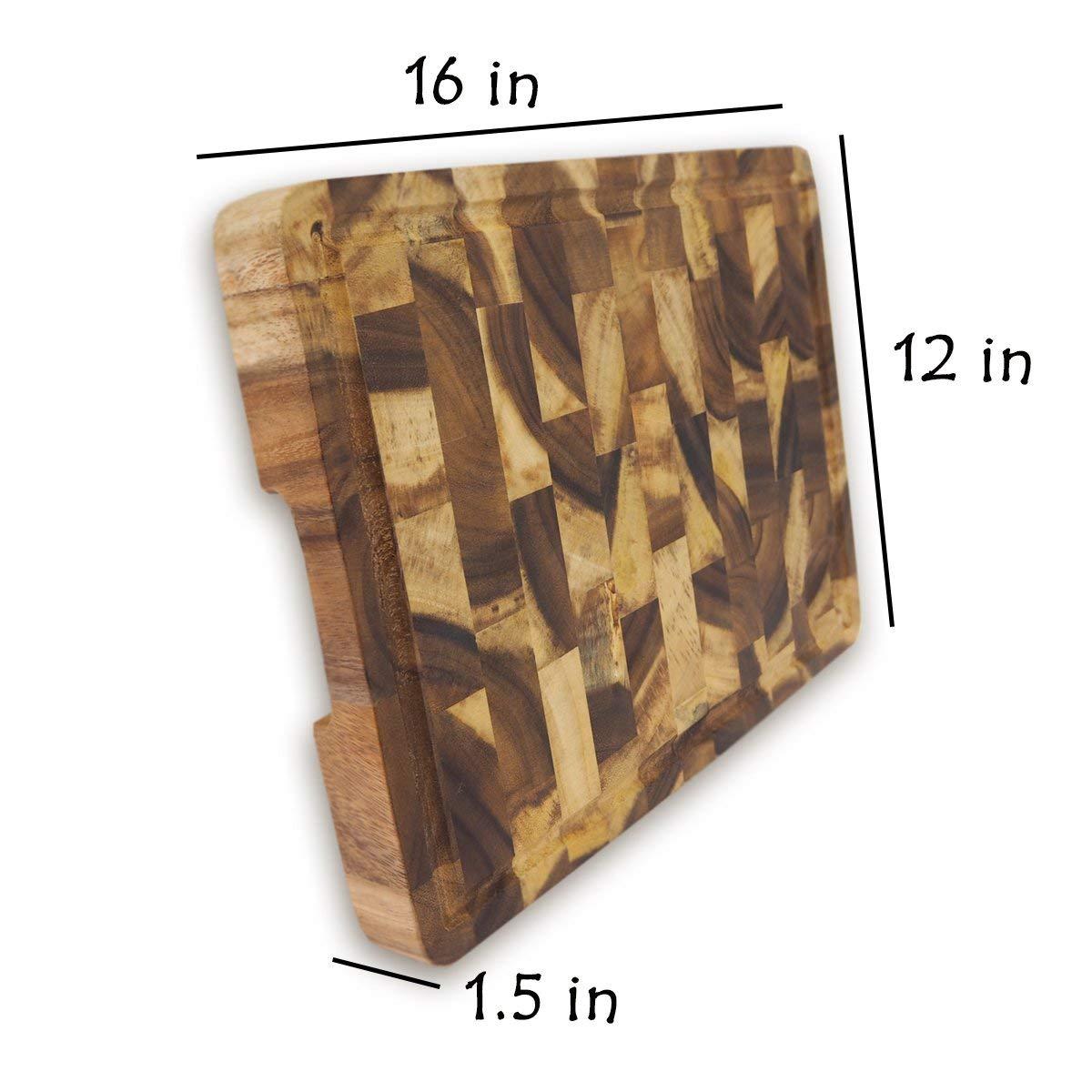 roro Rectangular End-Grain Acacia Kitchen Wood Cutting Board and Block by roro (Image #3)