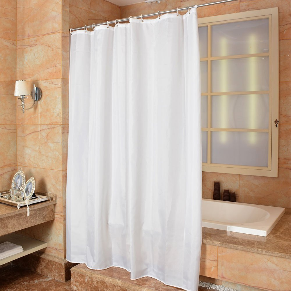 Amazon MOMONY Waterproof Fabric Shower Curtain Mildew Resistant Bath With Hooks 47 X 78 Inch White Home Kitchen