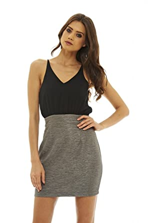 4a699f0bc7f AX Paris Women s 2 in 1 Mini Dress(Pewter