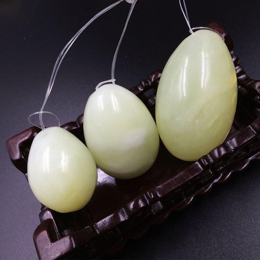 Set of 3 Natural Jade Eggs Yoni Egg Kegel Balls Massage Stones for Kegel Exercise Pelvic Floor Muscles Vaginal Exercise Health Care Ben Wa Balls with Brocade Storage Bag, Gifts for Women