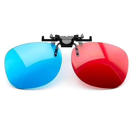 f9e16091bfd0d9 PRECORN Lunettes 3D clip-on rouge   bleu (anaglyphe 3D) pour porteurs de
