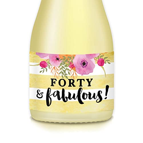 40th BIRTHDAY Party Ideas For Women Mom Sister Wife Friend Female Coworker Mini Champagne Wine Bottle Labels Shes FORTY FABULOUS