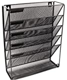 Premium Wall Mounted Organizer Holder Office Files Literature 5 Compartments Mesh Black