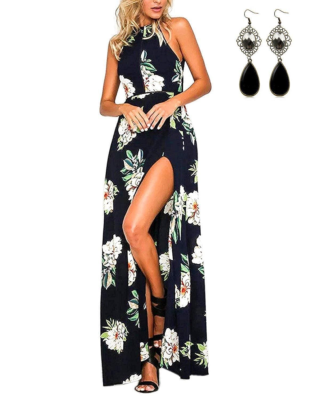 carinacoco Mujer Vestido Fiesta Largo Sin Mangas de Escotado por Detrás Maxi Vestidos Boho Chic de Noche Playa Vacaciones