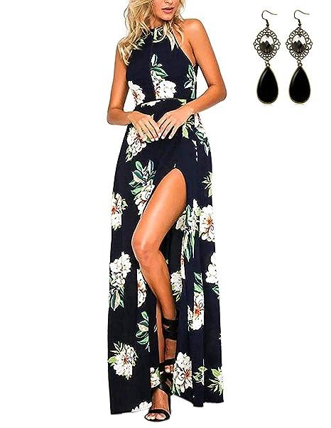 c8c6b3bc5c MODETREND Mujer Vestido Largo de Sin Mangas Escotado por Detrás Maxi  Vestidos Playa Playero Vacaciones y