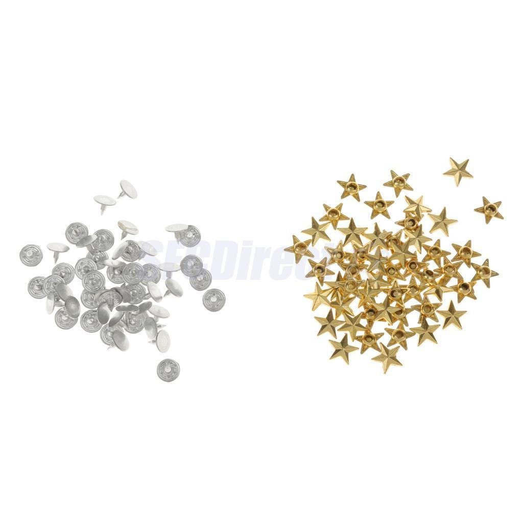 50 Set DIY Star Rivets Snap Studs Alloy Decorative Buttons Garment DIY Gold