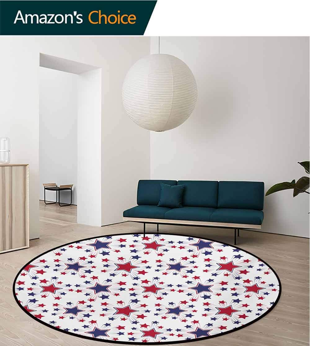 RUGSMAT USA Super Soft Circle Rugs for Girls,Celebration Shooting Star Figures International Freedom Festival Art Print Baby Room Decor Round Carpets,Diameter-71 Inch Night Blue Ruby White