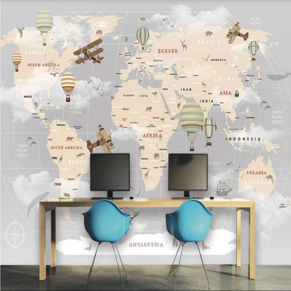 Amazon Com Retro Air Hot Balloons Airplane World Map Wallpaper