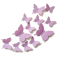 CuteProduct 12Pcs 3D Butterfly Removable Wall Decals DIY Home Decorations Art Decor Wall Stickers Murals for Babys Kids Bedroom Living Room Classroom Office