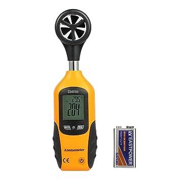 Cadrim Anemómetro Digital Medidor Multifuncional de Velocidad del Viento, Aire y Temperatura, Pantalla LCD