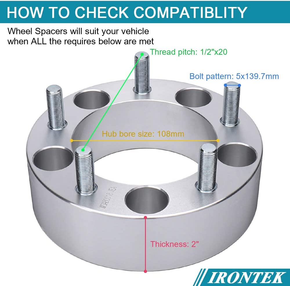 """2/"""" Wheel Spacers For 66-96 Ford F-150 Bronco 1994-2001 Dodge Ram 1500 5x5.5/"""" 4"""