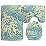 Ocean Sea Wave Accessories Bathroom Rugs Set Safety Toilet Rug Not Fade Lid Toilet Cover And Bath Mat
