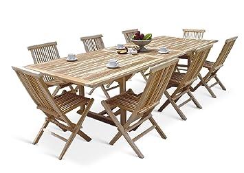 XXS® Möbel Gartenmöbel Set Caracas 9tlg Acht Praktische Klappstühle Menorca  Tisch Kuba Ausziehbar Hochwertiges Teak