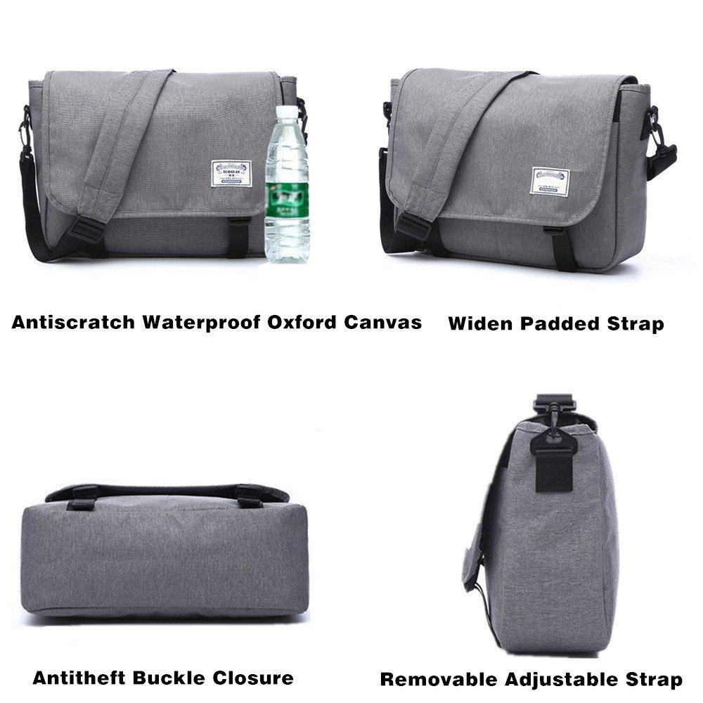 Canvas Messenger Bag for Women Men School Girls Teen Student Waterproof 13 Inch