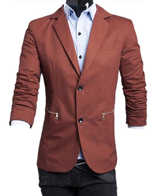 ZhuiKun Chaqueta de Traje Slim Fit Casual Abrigos para Hombre Rojo Café XL: Amazon.es: Ropa y accesorios